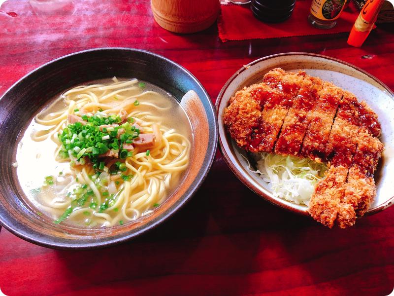 【ランチ部】やいま食堂 ソースカツ丼+八重山そばセット 850円
